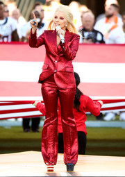 Lady Gaga was hard to miss in her shimmery red Gucci pantsuit and stars-and-stripes-themed platform pumps while singing the National Anthem at the Super Bowl.