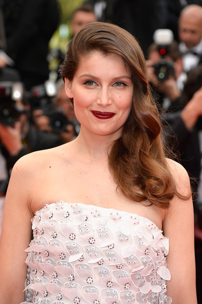 Laetitia Casta Side Sweep [grace of monaco,hair,facial expression,beauty,hairstyle,human hair color,fashion model,lady,eyebrow,girl,smile,premiere,laetitia casta,cannes,france,opening ceremony,the 67th annual cannes film festival,opening ceremony]