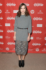 Keira Knightley added a casual edge with a pair of lace up heeled booties at the Sundance Film Festival premiere of 'Laggies.'