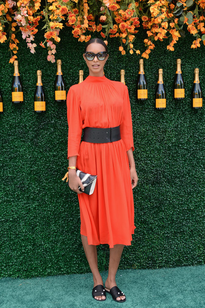 Lais Ribeiro Slide Sandals Are The Summer Footwear Trend We Can't Get Enough Of [orange,clothing,fashion,dress,shoulder,carpet,footwear,fashion model,red carpet,flooring,lais ribeiro,jersey city,new jersey,liberty state park,veuve clicquot polo classic,arrivals]