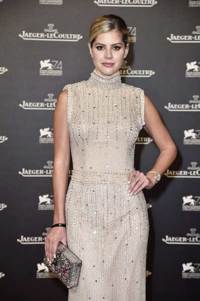 Lala Rudge Box Clutch [dress,clothing,cocktail dress,fashion model,fashion,hairstyle,beauty,skin,shoulder,neck,jaeger-lecoultre hosts gala dinner,lala rudge,arsenale,venice,italy,arsenale in venice: arrivals - 74th,jaeger-lecoultre,venice international film festival,gala dinner]