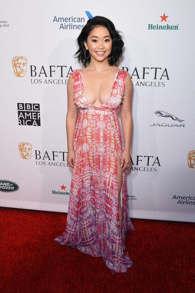 Lana Condor Print Dress [red carpet,clothing,carpet,dress,shoulder,premiere,flooring,fashion,formal wear,fashion design,lana condor,tea party,los angeles,four seasons hotel,california,beverly hills,bbca bafta]