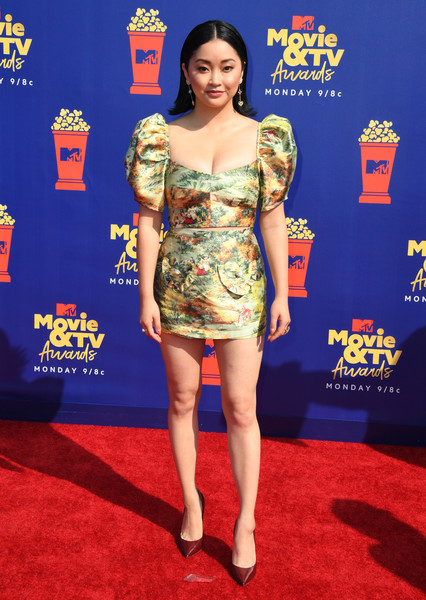 Lana Condor Pumps [movie,red carpet,clothing,carpet,dress,cocktail dress,premiere,flooring,shoulder,leg,fashion model,lana condor,tv awards,barker hangar,santa monica,california,mtv]