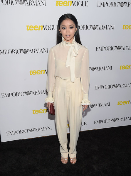 Lana Condor Pussybow Blouse [white,clothing,fashion,suit,yellow,fashion design,dress,fashion model,shoulder,pantsuit,arrivals,lana condor,california,los angeles,teen vogue,launch party,young hollywood issue,young hollywood issue launch party,lana condor,shes funny that way,fashion,celebrity,actor,dress,photograph,harmony gold]