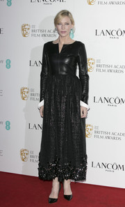 Cate Blanchett showed off an edgy-glam Chanel leather-bodice dress at the Lancome BAFTA nominees party.