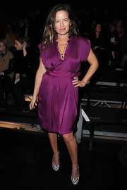 Magenta is certainly Jade Jagger's color. This swanky silk cocktail dress was such a fabulous choice.