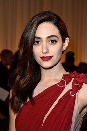 Emmy Rossum's red lipstick was a perfect match to her dress!
