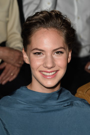 Emma Ferrer swept her hair up into a textured 'do for the Lanvin fashion show.