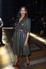 Ciara was tough-chic at the Lanvin fashion show in a gray leather coat styled with a mauve belt.