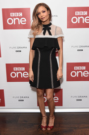 Thandie Newton looked darling at the launch of 'Line of Duty' in a black-and-white Self-Portrait cocktail dress with bow detailing, a mesh yoke, and a ruffled bustline.