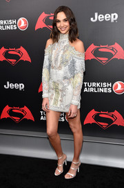 Gal Gadot's strappy white Sophia Webster sandals worked perfectly with her dress!