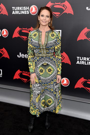 Diane Lane worked a busy print in this Naeem Khan floral dress during the 'Batman v Superman' premiere.