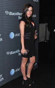 Jessica rocked peep toe ankle booties with a sexy black dress.