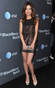 The actress looked adorable in a dark bronze sequined mini dress with peep toe slingbacks.