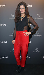 Shermine Shahrivar attended a launch party wearing a pair of lace-up ankle-boots.