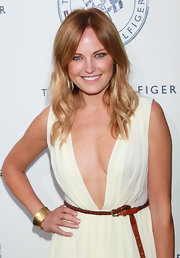 Malin Akerman attended the launch party for Tommy Hilfiger's Prep World Pop Up House wearing a brushed gold inverted bangle.