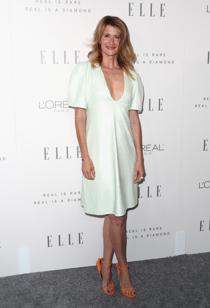 Laura Dern Sequin Dress [elle,clothing,dress,white,cocktail dress,shoulder,hairstyle,fashion,footwear,long hair,premiere,los angeles,four seasons hotel,california,beverly hills,24th annual women in hollywood celebration - arrivals,24th annual women in hollywood celebration,laura dern]