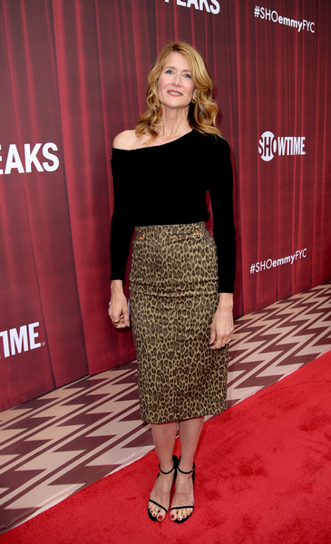 Laura Dern Off-the-Shoulder Top [twin peaks,clothing,red carpet,carpet,dress,shoulder,red,flooring,fashion,premiere,footwear,laura dern,for your consideration,california,los angeles,showtime,red carpet,paramount studios,event,event]