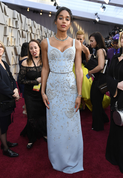 Laura Harrier Beaded Dress [red carpet,red carpet,carpet,dress,clothing,flooring,gown,premiere,fashion,hairstyle,event,laura harrier,academy awards,hollywood,highland,california,annual academy awards]