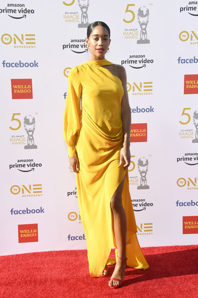 Laura Harrier Evening Dress [red carpet,yellow,carpet,clothing,fashion model,shoulder,fashion,dress,fashion design,flooring,arrivals,laura harrier,naacp image awards,dolby theatre,hollywood,california]