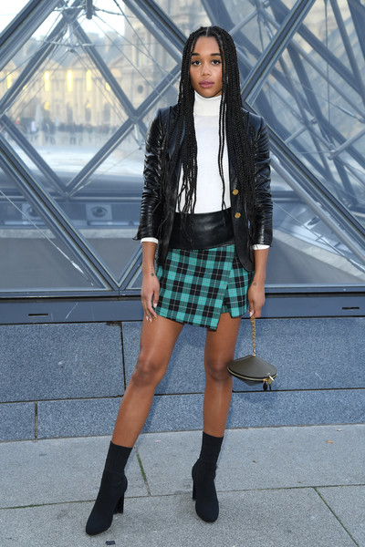 Laura Harrier Leather Jacket [clothing,street fashion,fashion,plaid,pattern,tartan,fashion model,snapshot,beauty,leather,laura harrier,part,paris,france,louis vuitton,paris fashion week womenswear fall,photocall - paris fashion week womenswear fall]