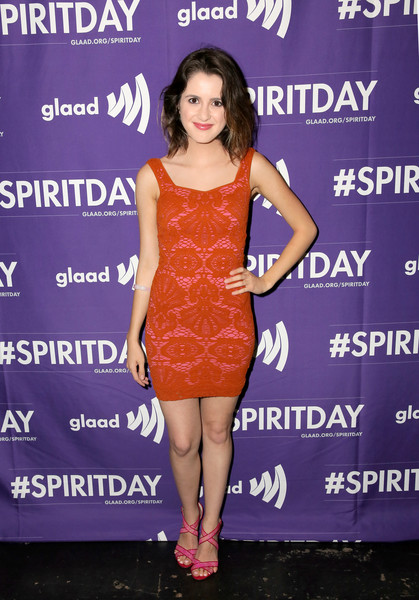 Laura Marano Form-Fitting Dress [justin tranter,laura marano,dress,clothing,cocktail dress,shoulder,premiere,fashion,fashion model,footwear,joint,electric blue,glaad present believer spirit day concert,california,los angeles,sayers club]