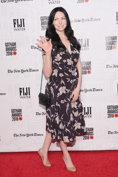 Laura Prepon Quilted Leather Bag [clothing,red carpet,dress,carpet,premiere,shoulder,cocktail dress,leg,joint,flooring,fiji water,laura prepon,ifp gotham awards,wall street,new york city,cipriani]