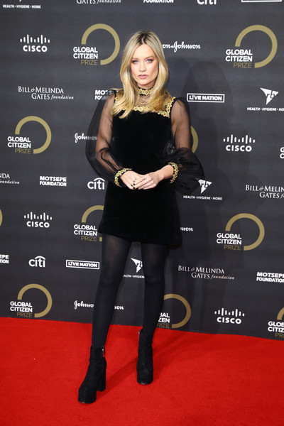 Laura Whitmore Ankle Boots [clothing,little black dress,carpet,dress,red carpet,tights,joint,footwear,cocktail dress,premiere,laura whitmore,global citizen prize,royal albert hall,england,london,red carpet]