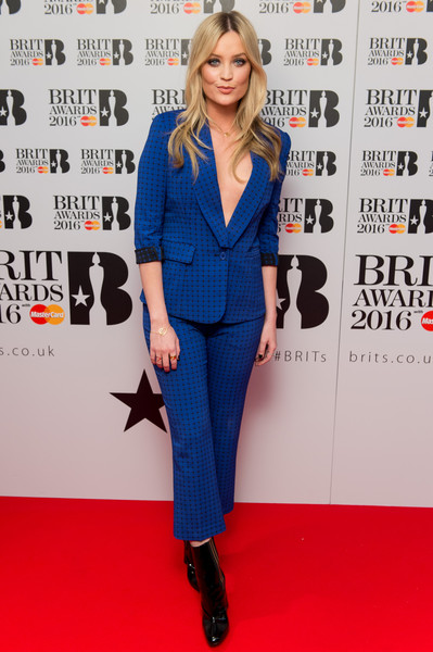 Laura Whitmore Ankle Boots [clothing,suit,red carpet,carpet,cobalt blue,electric blue,hairstyle,outerwear,pantsuit,fashion,laura whitmore,nominations,england,london,itv studios,brit awards,launch]