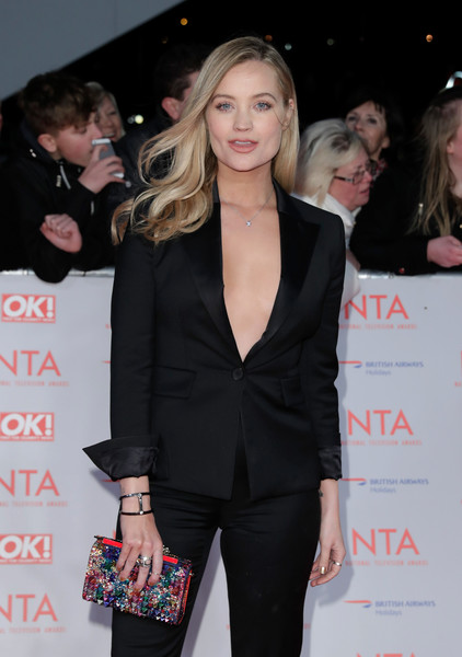 Laura Whitmore Cuff Bracelet [clothing,suit,fashion,beauty,event,hairstyle,blond,outerwear,premiere,formal wear,red carpet arrivals,laura whitmore,national television awards,o2 arena,london,england]