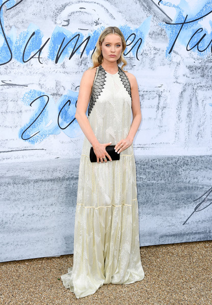Laura Whitmore Satin Clutch [clothing,dress,fashion,gown,shoulder,formal wear,haute couture,electric blue,fashion design,neck,serpentine galleries,chanel,summer party,red carpet arrivals,the serpentine gallery,england,london,the summer party,laura whitmore]