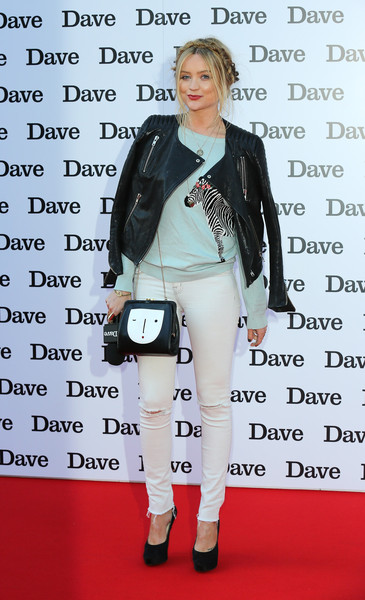 Laura Whitmore Ripped Jeans [hoff the record,clothing,fashion,jacket,leather,outerwear,footwear,fashion design,leather jacket,blazer,jeans,red carpet arrivals,laura whitmore,screening,uk,england,london]