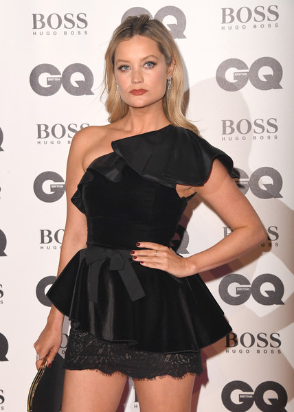 Laura Whitmore Red Nail Polish [clothing,shoulder,dress,little black dress,cocktail dress,fashion model,joint,fashion,leg,long hair,red carpet arrivals,laura whitmore,gq men of the year awards,awards,england,london,tate modern,gq men of the year]