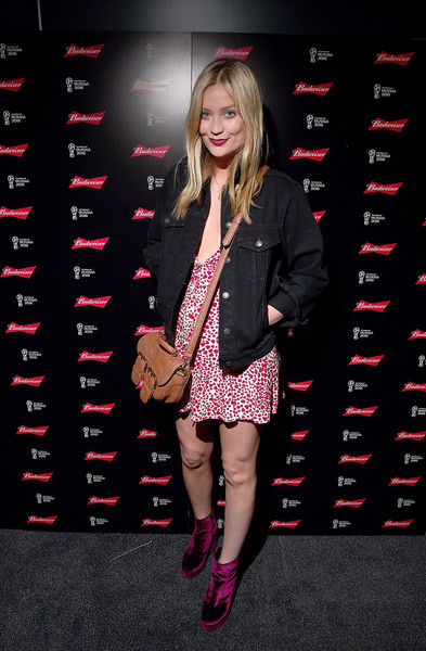 Laura Whitmore Denim Jacket [clothing,fashion,eyewear,pink,footwear,leg,blond,photography,long hair,fashion model,bud boat,official beer,laura whitmore,board,england,london,launch party,budweiser,budweiser boat world cup,2018 fifa world cup]