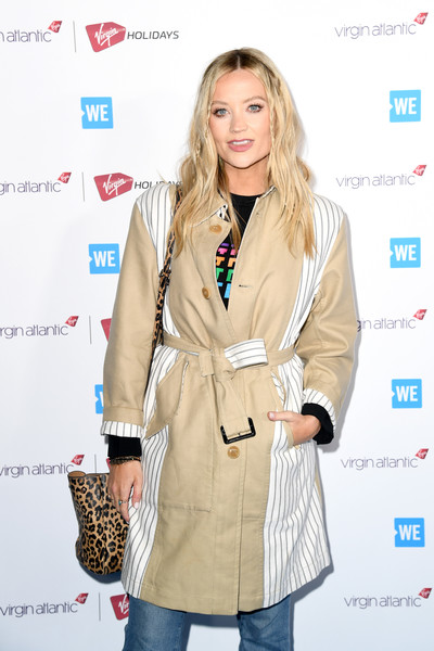 Laura Whitmore Printed Shoulder Bag [clothing,outerwear,hairstyle,coat,trench coat,fashion,overcoat,blond,long hair,fashion design,arrivals,laura whitmore,sse arena,wembley,london,england,we day uk,celebrity,fashion,supermodel,coat,socialite,carpet,model,outerwear,virgin atlantic]