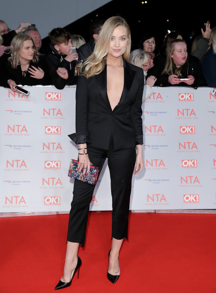 Laura Whitmore Pantsuit [red carpet,clothing,suit,carpet,premiere,event,flooring,formal wear,pantsuit,fashion,red carpet arrivals,laura whitmore,national television awards,o2 arena,london,england]
