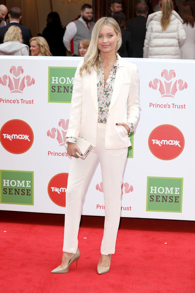 Laura Whitmore Pantsuit [red carpet,carpet,white,clothing,fashion,flooring,suit,event,footwear,pantsuit,red carpet arrivals,laura whitmore,awards,homesense awards,london palladium,england,the princes trust,tkmaxx]