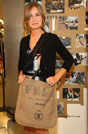 Lauren Bush promotes the FEED Read 3 campaign with this oversized tote.