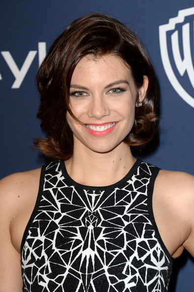 Lauren Cohan Bob [hair,hairstyle,eyebrow,premiere,brown hair,smile,black hair,long hair,neck,bangs,lauren cohan,post-party - arrivals,beverly hills,california,instyle,warner bros. 71st annual golden globe awards,warner bros. 71st annual golden globe awards post-party]