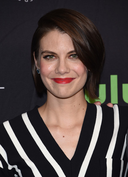 Lauren Cohan Bob [the walking dead,photo,hair,face,hairstyle,eyebrow,lip,chin,nose,smile,black hair,premiere,arrivals,lauren cohan,red carpet,los angeles,hollywood,paley center for media,paleyfest,opening night presentation]