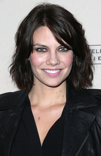 Lauren Cohan Short Wavy Cut [the walking dead,hair,hairstyle,face,eyebrow,black hair,chin,lip,layered hair,forehead,smile,lauren cohan,arrivals,leonard h. goldenson theatre,north hollywood,california,academy of television arts sciences presents an evening with]