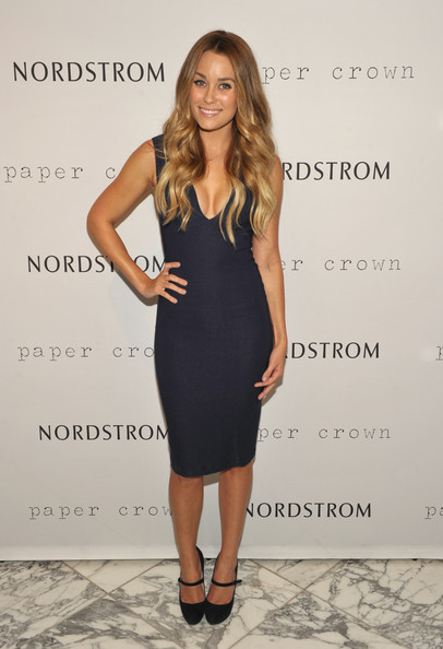 Lauren Conrad Pumps [dress,clothing,cocktail dress,fashion model,fashion,little black dress,hairstyle,long hair,shoulder,footwear,lauren conrad,california,los angeles,grove,nordstrom,paper crown,the grove for fashion,night out]