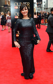 Arlene Phillips sparkled on the red carpet at the Laurence Olivier Awards where she wore this sequined gown.