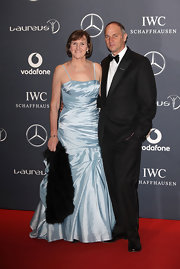 Ann Redgrave wore a pale blue taffeta gown to the Laureus World Sports Awards.