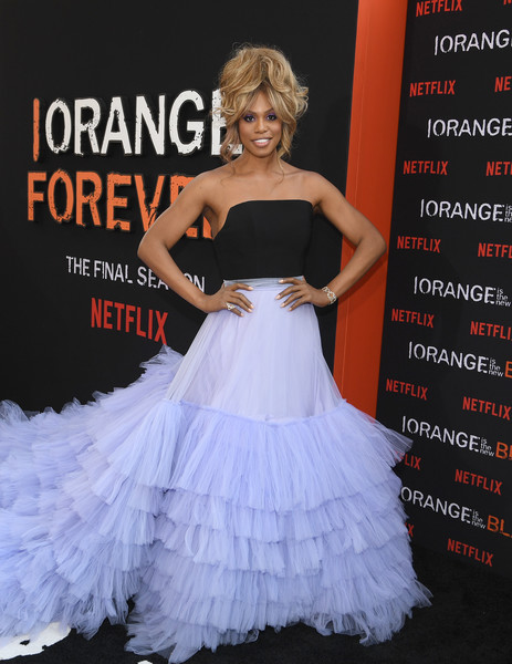Laverne Cox Strapless Dress [orange is the new black,dress,clothing,shoulder,gown,lady,fashion,ruffle,premiere,strapless dress,carpet,laverne cox,new york city,lincoln center,alice tully hall,final season world premiere]