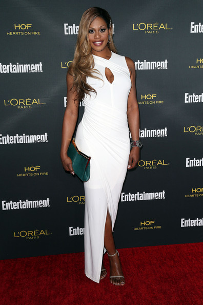 Laverne Cox Evening Sandals [flooring,fashion model,shoulder,carpet,joint,fashion,cocktail dress,red carpet,long hair,fashion design,party - arrivals,laverne cox,west hollywood,california,fig olive melrose place,entertainment weekly,pre emmy party]