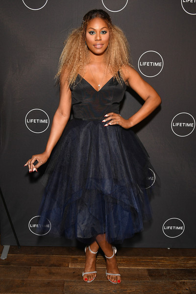 Laverne Cox Strappy Sandals [glam masters attend the exclusive premiere event,show,glam masters,clothing,dress,cocktail dress,hairstyle,fashion,shoulder,fashion model,long hair,formal wear,little black dress,executive producer,laverne cox,of lifetimes new show,dirty french,new york,lifetime,premiere event]