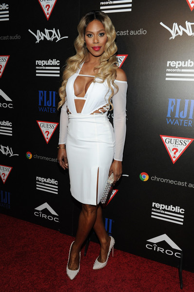 Laverne Cox Studded Heels [clothing,dress,cocktail dress,carpet,red carpet,premiere,shoulder,footwear,event,muscle,laverne cox,vma,water,fiji,new york city,republic records,party,republic records vma]