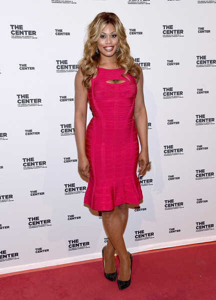 Laverne Cox Studded Heels [cocktail dress,clothing,dress,fashion model,carpet,shoulder,pink,red carpet,hairstyle,fashion,cipriani wall street,new york city,center dinner,laverne cox]