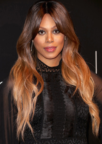 Laverne Cox Ombre Hair [hair,hairstyle,face,hair coloring,long hair,brown hair,lip,eyebrow,layered hair,blond,arrivals,laverne cox,fysee,beverly hills,california,netflix fysee space,netflix,kick-off,event,fysee kick off event]